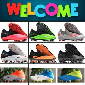 Phantom VSN II Elite Mens High Ankle FG Football Shoes Soccer Cleats Top Quality Outdoor Firm Ground Trainers Socks Football Boots 39-46