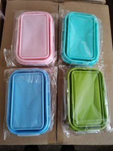 800ml Silicone Lunch Box Tescopic folding square fresh-keeping box tourist lunch bento Box Microwave Safe lunch box A07