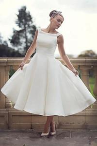 Summer A Line Wedding Dresses Scoop Neck Tea Length Short Bridal Gowns Zipper Back Sleeveless Cheap Vestidos De Novia