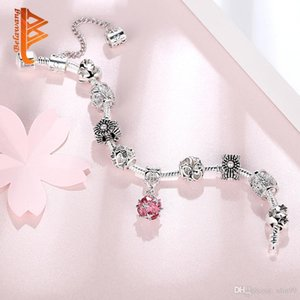 Nlm99 European Silver Plated Pink Crystal Pendant Beads Bracelets&Bangles Pink Murano Glass Beads&Simulated Pearl Heart Charm Bracelets