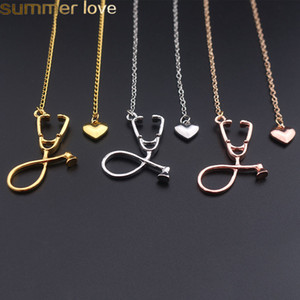 Collana della collana dei monili della collana dello stetoscopio medico di modo Ti amo collana del pendente del cuore per i regali di medico dell'infermiera all'ingrosso