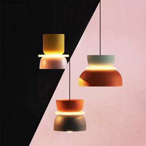 Luster Pendentif Designer Lumières Simple Lumières pendentif moderne Halo Hanglamp Nordic Loft Makaron Lamparas éclairage Lustres 110V 220 V