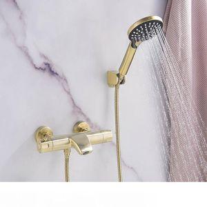 Grifo de bañera de temperatura constante de latón montado en la pared grifo mezclador de baño con grifos de ducha de mano conjunto cepillado oro negro