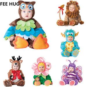 Bebek Erkek Kız Karnaval Cadılar Bayramı Dinozor Kostüm Romper Çocuk Giysileri Set Toddler Cosplay Triceratops Tulumlar Bebek Giysileri J190710