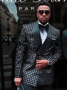 Smoking da sposa doppio petto Abiti slim fit da uomo Groomsmen Suit da due pezzi economici abiti da ballo (giacca + pantaloni + cravatta) 090