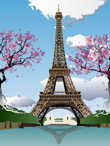 Eiffel Tower Paris Flowers Trees Vinil Photography Backdrops Blue Sky Clouds Photo Booth Backgrounds for Children Studio Props