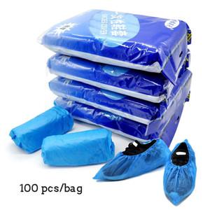 100Pcs monouso CPE plastica copriscarpe per Outdoor Indoor Anti Slip scarpe 33 centimetri di copertura Overshoes protezione * 13cm