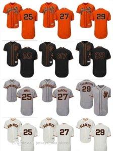 für Männer, Frauen, Jugend SF Giants Jersey # 25 Barry Bonds 27 Juan Marichal 29 Jeff Samardzija Orange Grau Weiß-Kind-Mädchen-Baseball-Shirts