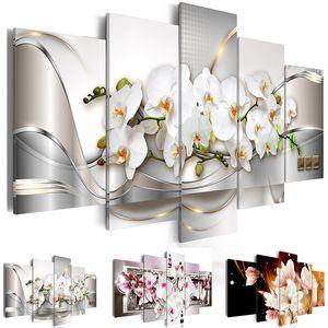 Imprimir moderna tela de pintura 5 Painéis Orquídeas Flower Canvas Paisagem Modular Retrato para Wall Art Living Room Home Decor