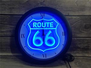 0B371 Historic Route 66 Mother Road APP LED RGB Neon Signs Luz Relógio de parede