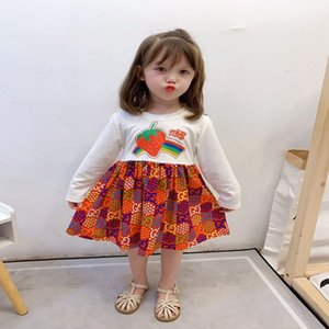 Girls dress high quality letter dress children fashion cotton dress 2020 new A word princess skirt long sleeve shirt