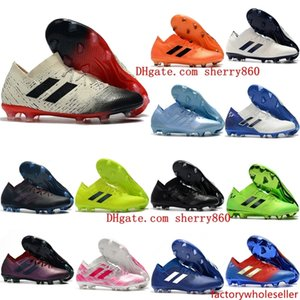 2019 nuevos tacos de fútbol para hombre Nemeziz Messi 18.1 FG zapatos de fútbol Nemeziz 18 chaussures de botas de fútbol chuteiras de futebol naranja original