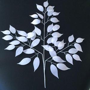 24pcs decoração de flores brancas de seda folhas artificiais decoração home Leaves for Wedding Party Arch Vintage Wedding fornecimentos de plantas Falso