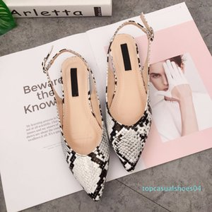 New Serpentine Women's Flats Shoes Sandals For Spring 2019 Mules Flats Shoes Women's Buckle Strap Loafers Sandals t04