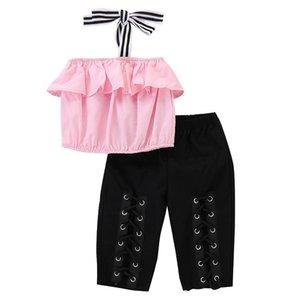 Vieeoease Mädchen Sets Kinder Kleidung 2019 Sommer Schultergurte Rüschen T-Shirt + Loch Hosen Kinder Outfits 2 Stück CC-219