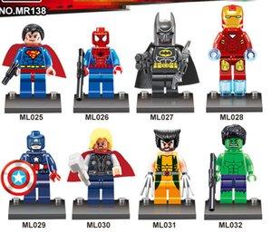 Os Vingadores 8pcs / lot Marvel DC Super Heroes Series Mini figuras Building Blocks figuras Bricks Crianças DIY Brinquedos presente DHL transporte livre