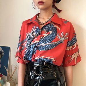 Ebaihui 2020 Harajuku Style Summer Women Tops Harajuku Blouse Women Dragon Print Short Sleeve Blouses Shirts Female StreetwearKZ022