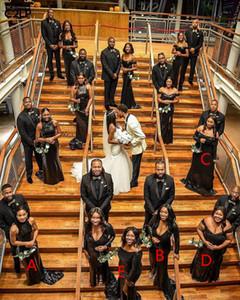 Nuovo poco costoso della sirena elegante abiti da sposa Taglie Paillettes A spalle cinque stili Piano Lunghezza damigella d'onore abiti neri Ragazze