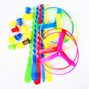 Free shipping Creativity Hand push plastic frisbee Plastic bamboo raft childhood toys Flying fairy school toy