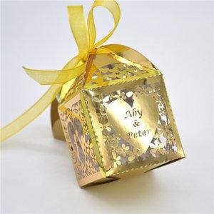 Kiss heart laser cut custom wedding favor boxes with organza ribbon