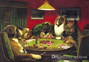 Dream-art di alta qualità dipinto a mano HD Stampa arte astratta pittura a olio cani giocando a poker Wall Art Home Decor su tela multi formati a47