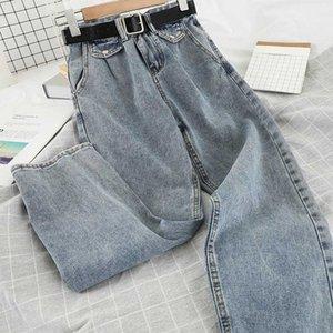 Kadın Kot Kadınlar Pantolon Eğlence Gevşek Yüksek Bel Vintage Geniş Bacak Jean Kore tarzı tüm maç basit tam uzunlukta
