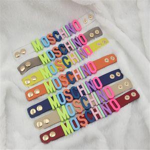 Colorful Alphabet Bracelet Leather Bracelet Pu Bracelet Multicolor Popular Fashion Brand Letter Bracelets For Lady Design Women