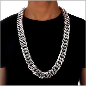 Mode Hip Hop Halskette für Männer Frauen Cuban Link 18 Karat Überzogene Halsketten Kette Europäischen Gold Silber Hiphop Street Dance Dicke Aluminium Ketten