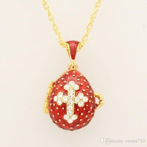 Suitable for European luxury Faberge egg pendant red crystal cross pendant necklace enamel Europe Easter eggs, Christmas gifts