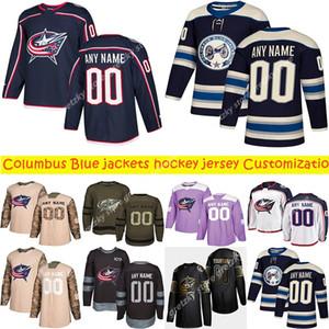 Personalización Noticias Columbus Blue Jackets jerseys del hockey de múltiples estilos para hombre 13 ATKINSON 3 JONES modifica cualquier Nombre cualquier número de hockey Jersey