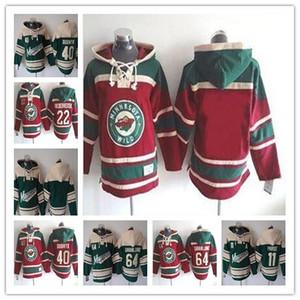 Rétro pas cher 2017 Minnesota sauvage capuchons de hockey Maillots 11 PARISE 22 Niederreiter 64 GRANLUND 40 Dubnyk 20 SUTER Vintage piqué capuche