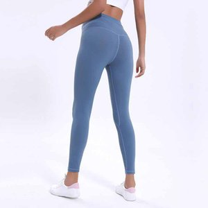 LU-12 Solid Color Women yoga pants High Waist Sports Gym Wear Leggings Fitness Elastic Lady Overall Full Tights Workout