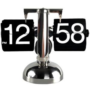 ساعة الطاولة الصغيرة مقياس ريترو فليب أكثر من مكتب للساعات الفولاذ المقاوم للصدأ الوجه مشتغل والعتاد الداخلي كوارتز ساعة