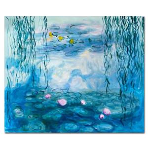 Dipinto a mano Monet Lotus Pond a olio di arte della parete per Impression salone della parete della casa su tela Handmade pittura Monet Art
