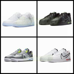 2020 New NIKE Air Force 1 React White black D/MS/X Men Women 1s Shoes White Red Casual Shoes Size 36-45
