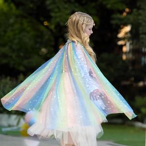 Capa de fábrica de los hijos directos del mantón traje de chicas estrella de las lentejuelas linda princesa velo exterior Capa de 6 colores