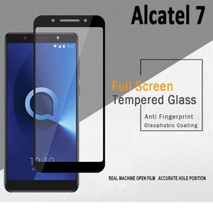 2.5D vidro temperado cobertura completa protetor de tela borda curva com pacote de 10in1 para Alcatel 7 Folio / A7 / A7 XL / ideal Xcite 5044