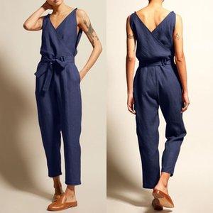 2019 Zanzea kadın Tulumlar Tank Tulum Pantalon V Boyun Kemer Playsuits Kadın Kolsuz Combinaison Femme Pantolon Boy Y19060501