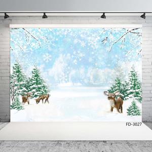 Árboles de navidad del copo de nieve de fondo la fotografía ciervos Fondos impresos de ordenador para el bebé de los niños Familia Photoshoot Photophone
