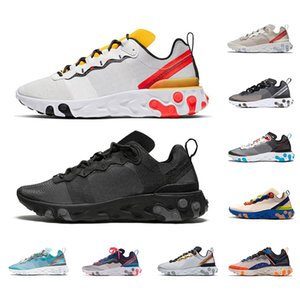 New Arrived 2020 React 87 Element 55 Running shoes for men women Triple black white Breathe Sports sneakers size 36-45