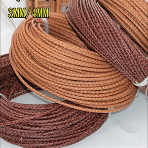 DIY jewelry accessories handmade materials retro old 3MM 4MM braided Brown cowhide rope round Bracelet leather rope