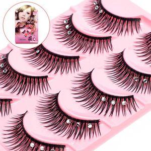 5pairs Mink cheveux Faux cils cil naturel avec Dramatic Faux volume mousseux strass Cils Maquillage Cils Maquiagem