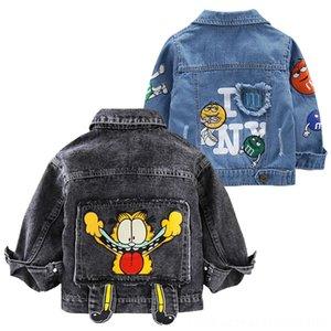 Niños Garfield Denim Jacket Niños Primavera de dibujos animados para niños Outwear bebé Ropa de abrigo niñas Adolescente remache Jean chaquetas Niños