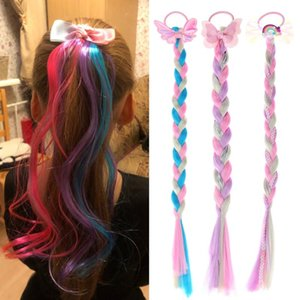 1PC Cute Girl Colorful Hair Ropes Hairpins Princess Braid Elastic Hair Bands Ponytail Headwear Fashion Kids Accessories