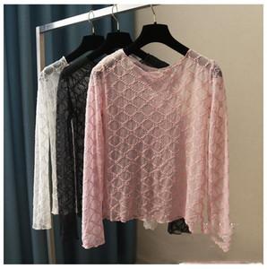 Nuevo diseño de la letra S de bordado de manga larga del O-cuello Perspectiva acoplamiento de la gasa de la camiseta del tamaño extra camisas S M L blusa del algodón de las señoras