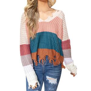 JAYCOSIN Pullover Casual Women Farbe Kollision Hülsenkopf mit V-Ausschnitt Leicht Big-Code Pullover und Sweater Übermaß Frauen
