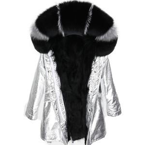 2019 Nueva marca Maomaokong negro gris piel de zorro corte mujeres chaquetas de nieve negro forro de piel de mapache plata larga parkas Noruega