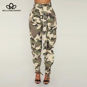 Bella Philosophy Cargo Pants Vintage Taille Haute Ceinture Femme Ceinture Armée Pantalon Imprimer Lady Camouflage Pantalon Bas 2019