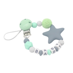 Nombre personalizado Five Star Silicone Beads Dentición Recién nacido Bebé Alimentación Chupete Clip Chain Nipple Teether Holder Chain