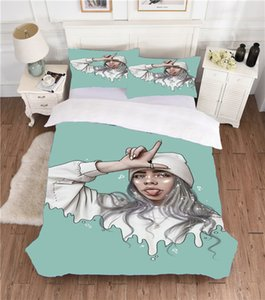 3D-Bettwäsche-Set, Billie Eilish Schlafzimmer-Dekor Mikrofaser Bettbezug-Set Junge Mädchen Tröster Abdeckung Spiel Kissen- Twin Voll Königin König